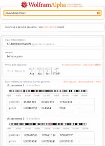 Consulta com uma sequência de DNA
